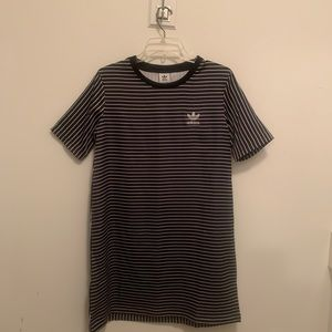 Adidas Striped Glossy Satin Tee Shirt Dress